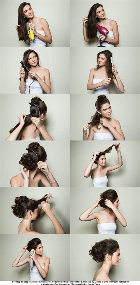 bridal hairstyles for hair step by step bridal hairstyle step by step glam textured bun