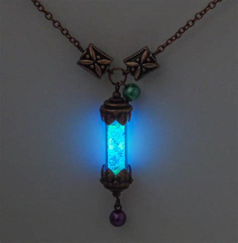 Glowing Necklace magical glowing vial glowing necklace copper vial