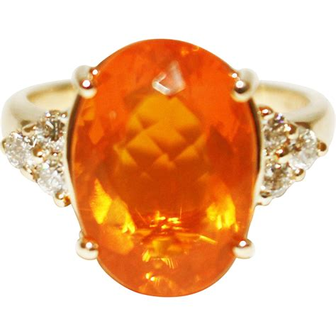 mexican fire 6 ct natural mexican fire opal and ring in 14kt