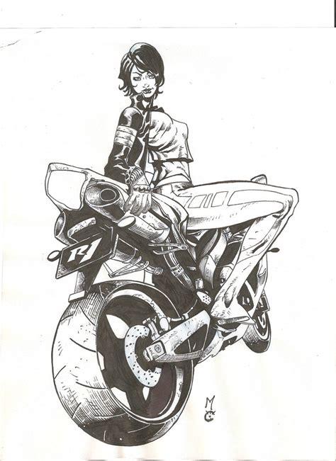 Ballard Designs Art biker girl 2 inks by peke peke on deviantart