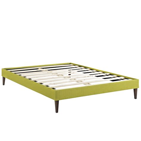 modern king bed frame sharon modern king fabric platform bed frame with square legs wheatgrass