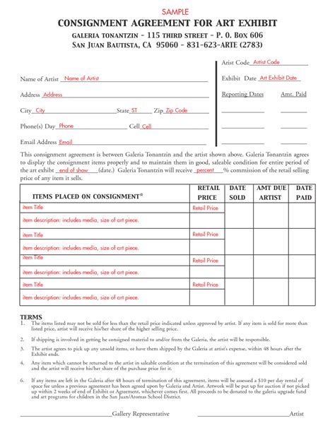 Consignment Agreement Template Free Printable Documents Artist Consignment Agreement Template