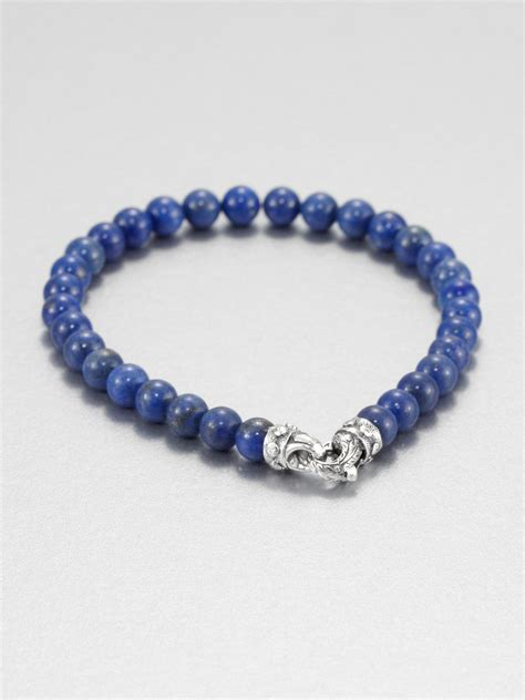 blue beaded bracelet blue lapis beaded bracelet in blue for lyst