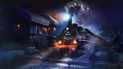 Winston Bench Fantasy Art Artwork Digital Art Steam Locomotive Train