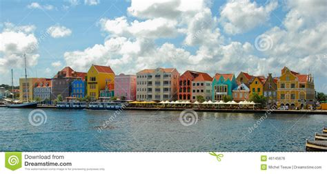colored houses colored houses curacao stock photo image 46145676