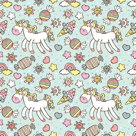 unicorn pattern background unicorn ice cream candy rainbow and cloud sprockets