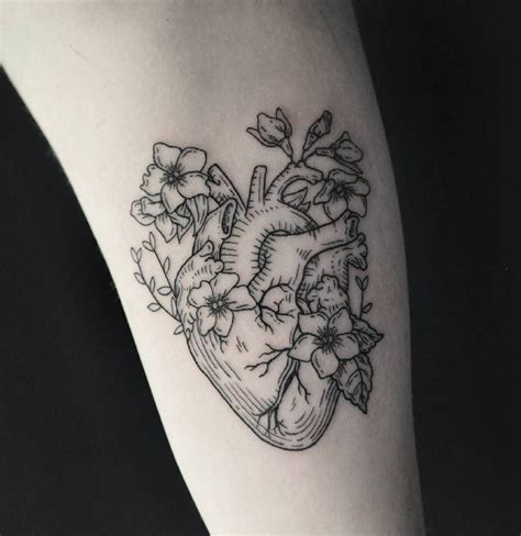 flower heart tattoos linework anatomical by harry p tattoos on