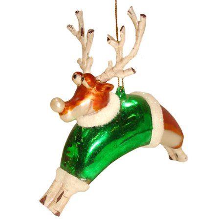 santas reindeer ornament whimsical reindeer in green santa coat glass ornament walmart