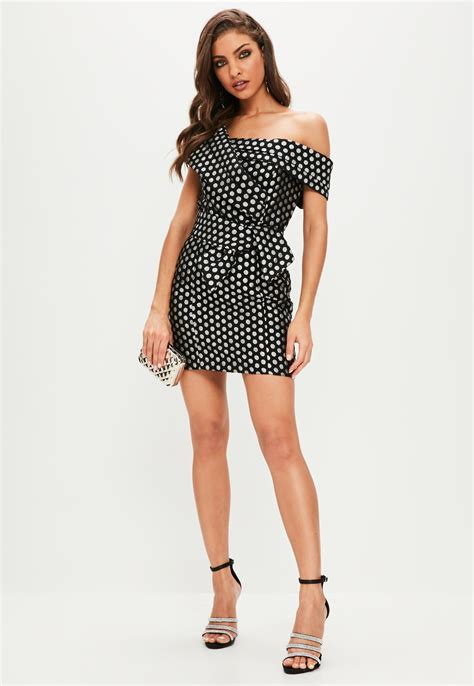 Polkadod Dress Laud lyst missguided black polka dot cross front mini dress in black
