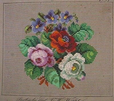 Antique Pattern Library Com | antique hand painted berlin wool work floral pattern