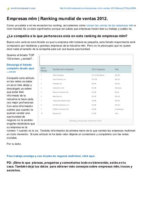 ranking negocios multinivel empresas mlm ranking mundial de ventas 2012