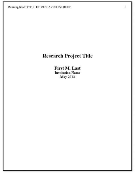 Research Paper Apa Style Title Page by Purdue Owl Apa Formatting And Style Guide Apa Format Title