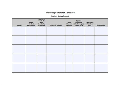 knowledge transfer plan template free word format best