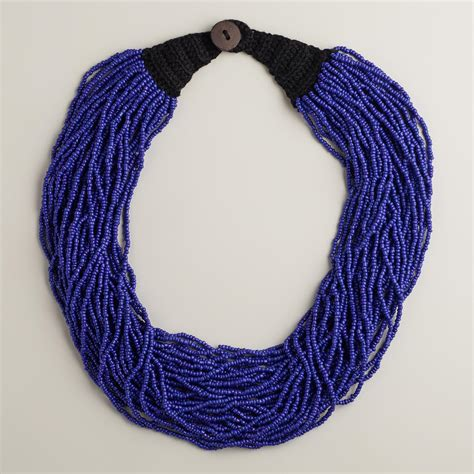 multi strand beaded necklace blue multi strand beaded necklace world market