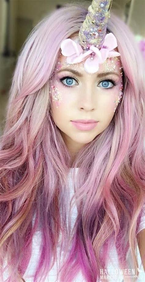 love  unicorn   mermaid pink wavy hair