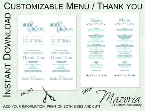 menu place cards template wedding menu thank you place card in one diy