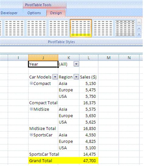 excel layout options excel pivot table design layout pivot table styles