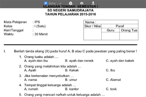 soal uts kelas 1 semester 1 mata pelajaran bahasa indonesia soal ulangan kelas 2 sd semester 1