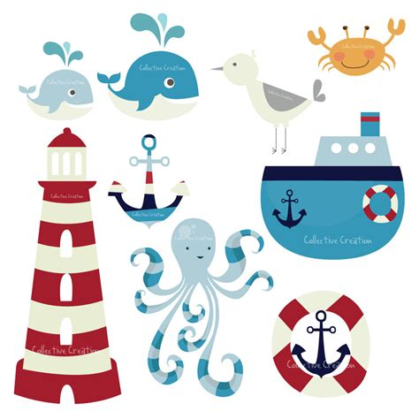 nautical themes nautical themed digital clip art set by collectivecreation