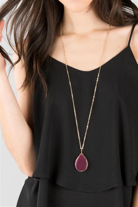 best necklaces for short necks in women rita stone pendant necklace in berry francesca s