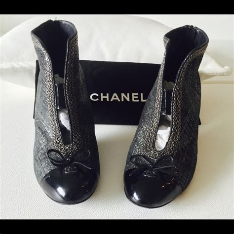 78 chanel shoes chanel ankle black and gray boots
