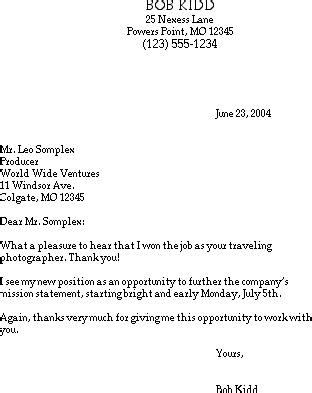 Offer Letter Thanks Mail Sle Thank You Email The Offer Susan Ireland Resumes