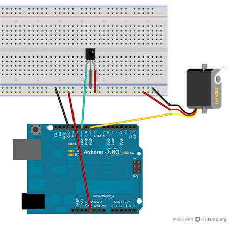 tutorial arduino servo controlling a servo with ir using an infrared library on