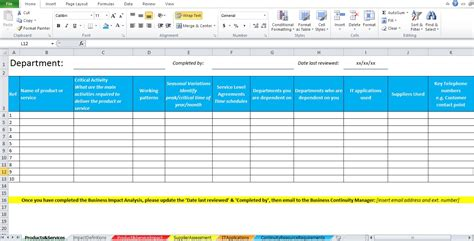 business impact analysis plan template business impact analysis template excel excel tmp