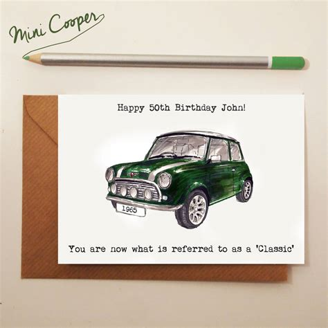 Mini Cooper Card classic car birthday card by house notonthehighstreet