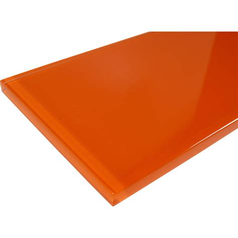 4 x 12 orange glass subway tile glossy c13