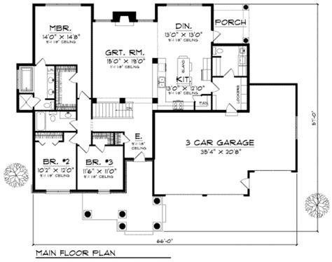 3 bedroom country floor plan country style house plan 3 beds 2 baths 1904 sq ft plan