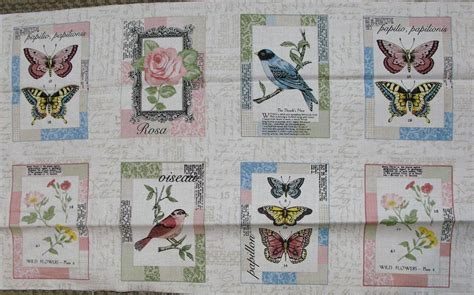 Bird Quilting Fabric by Vintage Journal Bird Patchwork Quilting Sewing Fabric