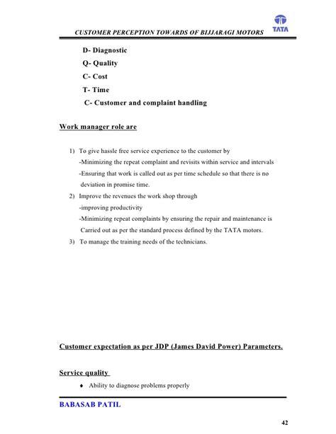 Mba Marketing In Tata Motors by Customer Perception Bijjaragi Motors Project Report Mba