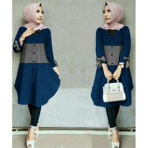 Tunik Pita Blouse Korea Baju Atasan Muslim Dress Bluss Unik Murah flavia store kemeja tunik wanita lengan panjang pita fs0197 navy biru dongker baju santai