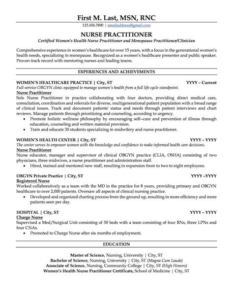 nurse practitioner resume sle professional resume