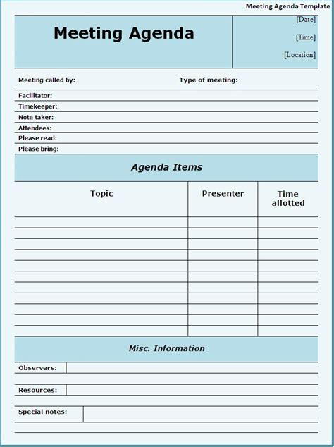 meeting agenda template google docs best agenda templates