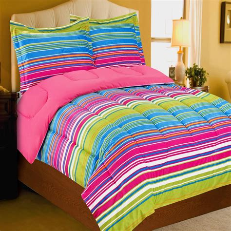 pink striped comforter magical stripes micro mink pink green blues twin comforter