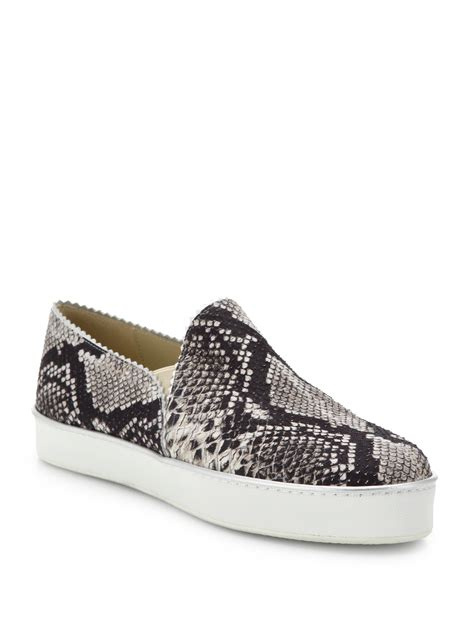 snake print slip on sneakers stuart weitzman nuggets snake print leather skate shoes in