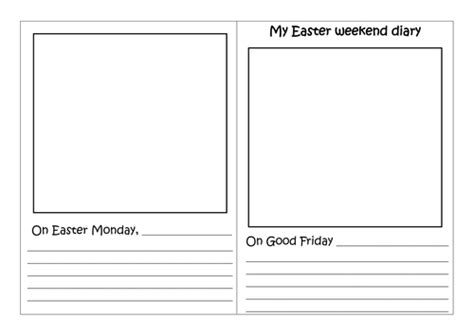 diary writing template ks1 easter weekend holidays diary by choralsongster teaching