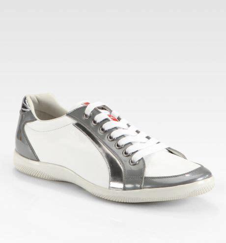 prada white sneakers prada suede sport sneakers in gray white grey lyst