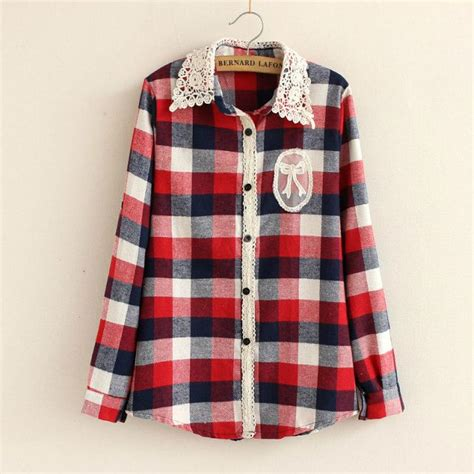 Blouse Yaza You Can Kotak flannel shirts with lace check shirt casual blouse lace turndown collar sleeve plaid