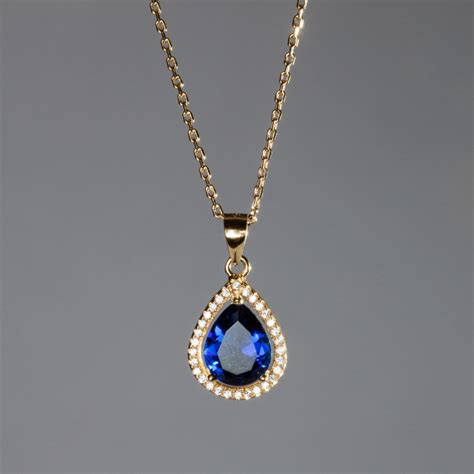 fashion vintage necklace blue pendant gold necklace