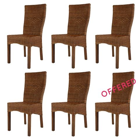set of rattan dining chairs rotin design