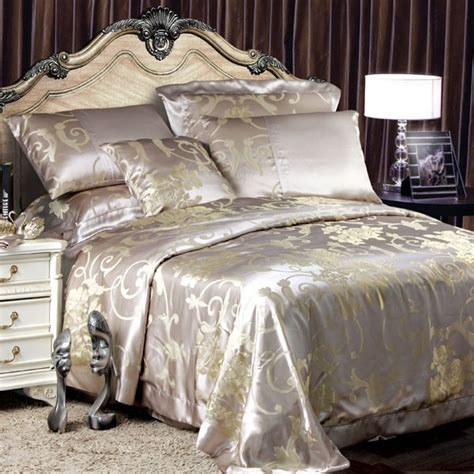 silk bedroom 8 pieces silk luxury bedding sets set41