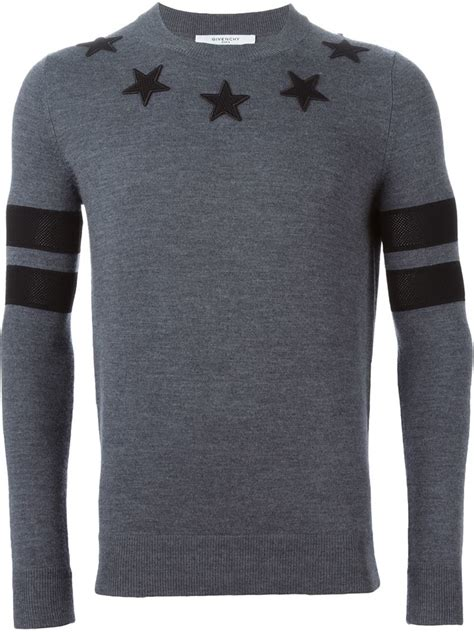 Givenchy Sweater lyst givenchy patch sweater in gray for