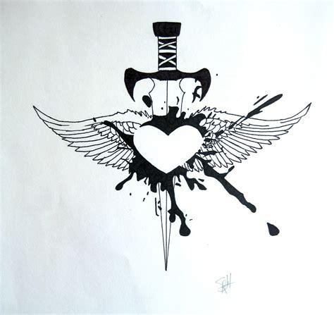 pierced hearts tattoo sword pierced idea ink rockabilly