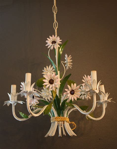 Flower Chandelier Italian Tole Floral Flower Chandelier 1940s Gorgeous Traditional Chandeliers By