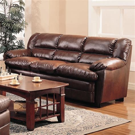 Leather Sofa Table Espresso Three Seat Leather Combined With Rectangle Brown Wooden Coffee Table And Rug