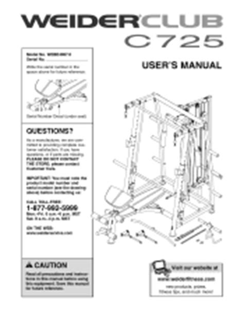 weider club c 725 manual