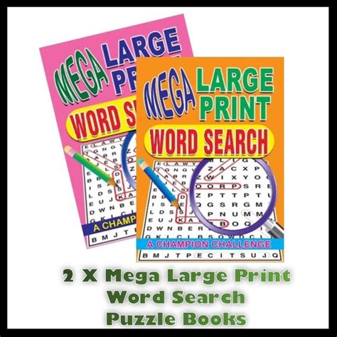 and large print books 2 x a4 mega large print word search puzzle book books 258